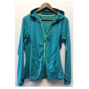 Mondetta | Teal Blue Athletic Zip Down Jacket Hood